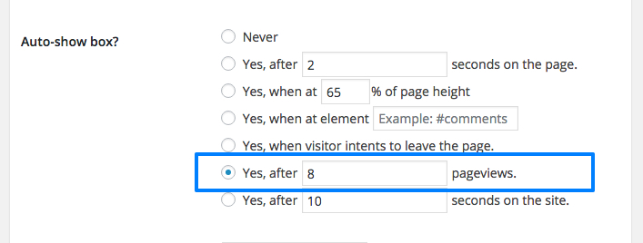 Pageview trigger setting in box options.