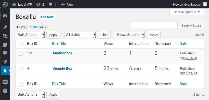 Statistics in your boxes overview